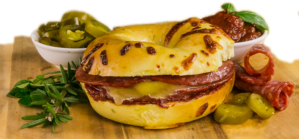 Jalapeno, Salami and Cheese Pizza Bagel